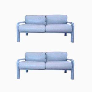 Zwei-Sitzer Ledersofas von Gae Aulenti für Knoll International, 1980er, 2er Set
