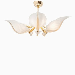 Murano Glass Leaf Chandelier by Franco Luce, 1970s
