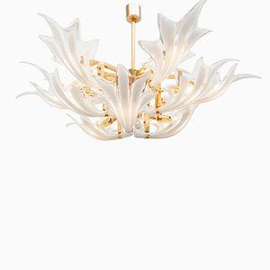 Brass & Murano Glass Leaves Chandelier, 1970s