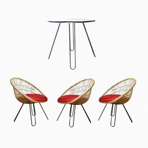 Table & Three Armchairs with Hairpin Legs, 1950s