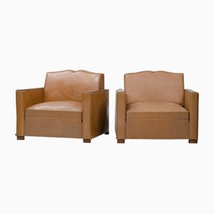 Vintage French Faux Leather Armchairs, Set of 2