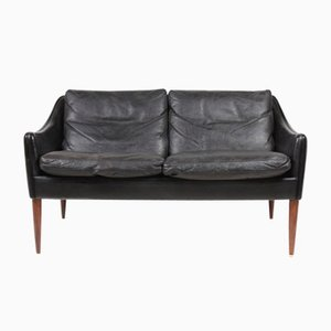 Black Leather & Rosewood Sofa by Hans Olsen, 1960s