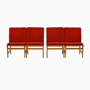 Model 3232 Lounge Chairs by Børge Mogensen for Fredericia, 1960s, Set of 4