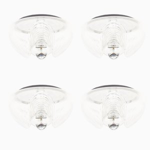 Vintage Large Wave Clear Glass Sconces by Koch & Loewy for Peill & Putzler, Set of 4