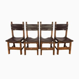 Oak and Leather Sling Chairs, 1920s, Set of 4