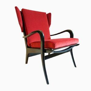 Mid-Century Wingback Velvet Armchair