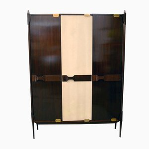 Italienischer Holz Kleiderschrank, 1950er