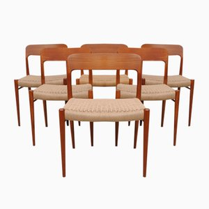 Danish Teak Chairs Mod. 75 by Niels Møller for J.L. Müller, 1950s, Set of 6