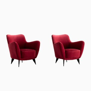 Perla Armchairs in Red Velvet by Giulia Veronesi for ISA Bergamo, 1950s, Set of 2