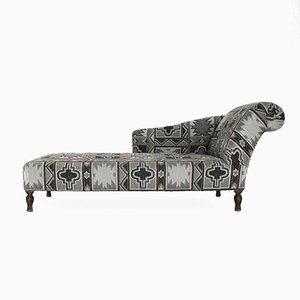 French Chaise Longue with Geometric Print, 1940s