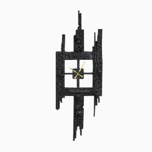 Cast Iron Brutalist Clock, 1960s