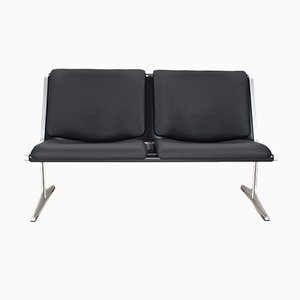 German 1300 Two-Seater Faux Leather Bench by Friso Kramer for Wilkhahn, 1967