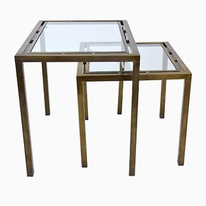 Vintage French Brass Nesting Tables, Set of 2