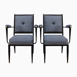 French Lacquered Metal Desk Chairs, 1960s, Set of 2