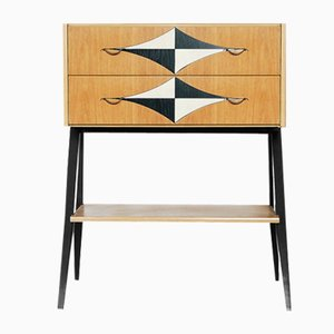 Vintage Scandinavian Tall Cabinet with V-Legs & Pattern