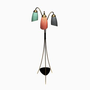 Dreibein Messing Stehlampe mit Glasleuchten, 1950er