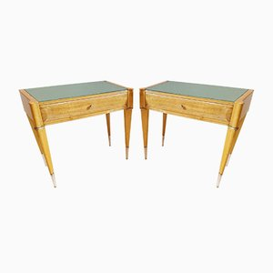 Mid-Century Italian Maple & Birch Nightstands, Set of 2