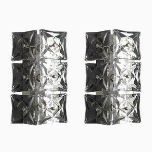 Large Crystal Glass & Chrome Wall Lamps from Kinkeldey, 1960s, Set of 2