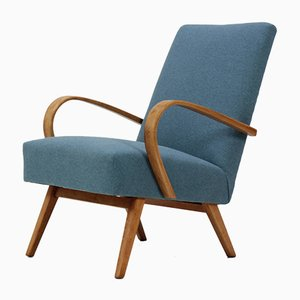 Bentwood Lounge Chair with Blue Fabric from TON, 1960s