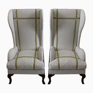 Spanish Wingback Armchairs, 1910s, Set of 2