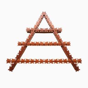 Mid-Century Danish Triangular Teak Shelf with Leaf Details