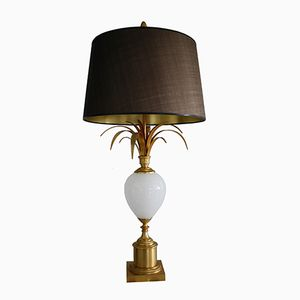 Brass and Opaline Pineapple Leaf Table Lamp, 1970s