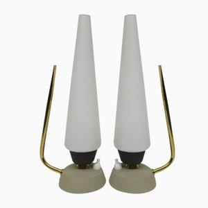 Italian Opaline Glass & Brass Bedside Lamps, 1950s, Set of 2