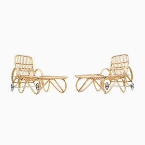 Bamboo & Rattan Garden Chairs, 1950s, Set of 2