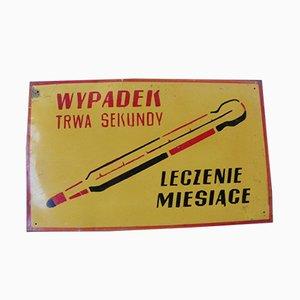 Polnisches Industrielles Vintage Fabrik Warnschild