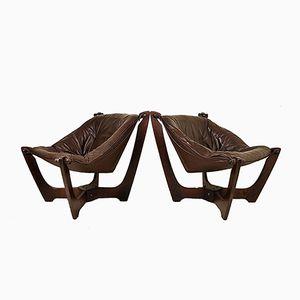 Vintage Luna Lounge Chairs by Odd Knutsen for Hjellegjerde, Set of 2