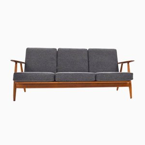 Danish GE-240 Oak, Teak, & Grey Wool Cigar Sofa by Hans J. Wegner for Getama, 1950s