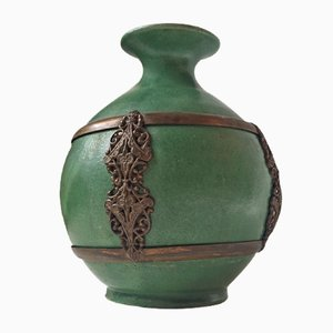 Antique Green Danish Pottery Vase with Brass Details by Herman August Kähler