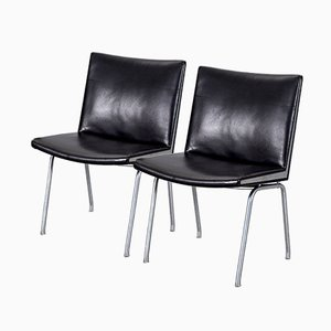 Ap-40 Black Leather Airport Chairs by Hans J. Wegner for Ap-stolen, 1950s, Set of 2