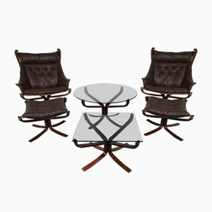 Mid-Century Falcon Chairs, Ottomans & Tables by Sigurd Ressell for Vatne Lenestolfabrikk