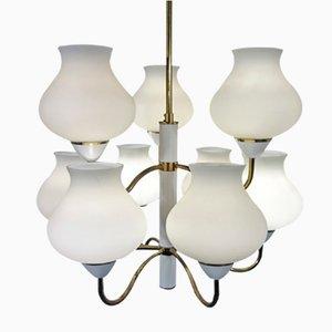 Vintage Brass & Opaline Glass Chandelier by Hans-Agne Jakobsson