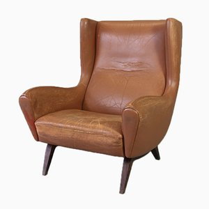 Brown Leather Model 110 Lounge Chair by Illum Wikkelso for Søren Wiladsen, 1960s