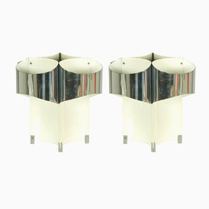 Chrome-Plated & White Painted Italian Night Lights, 1960s, Set of 2