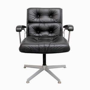 Black Leather Office Chair from Girsberger, 1960s