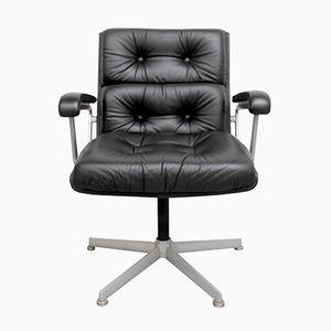 Chaise de Bureau en Cuir Noir de Girsberger, 1960s