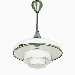 Small Chrome-Plated and Opaline Glass Pendant Lamp by Otto Müller for Sistrah, 1930s
