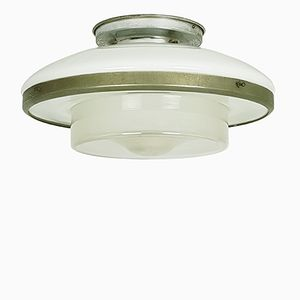 Vernickelte Deckenlampe aus Chrom & Glas von Otto Müller für Sistrah Licht, 1930er