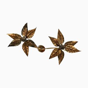 Brass Flower Wall Lights by Willy Daro, 1970s, Set of 3