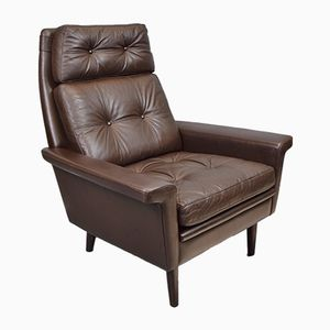 Mid-Century Danish Brown Leather Lounge Armchair by Hans Olsen, 1960s