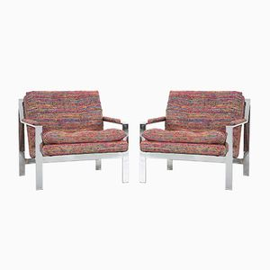 Flat Bar Lounge Chairs by Cy Mann, 1970s, Set of 2