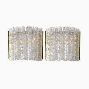 Lampade da parete in ottone e vetro di Doria, anni '60, set di 2