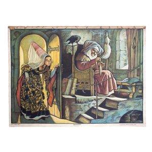 Fairy Tale Wall Chart of Sleeping Beauty by Adalbert Pilch, 1951