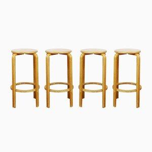 Vintage Barhocker von Alvar Aalto, 4er Set