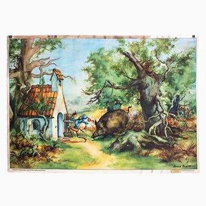 Fairy Tale Wall Chart of The Brave Little Tailor by Hubert Rasch for Stockmanns Märchenbilder, 1954