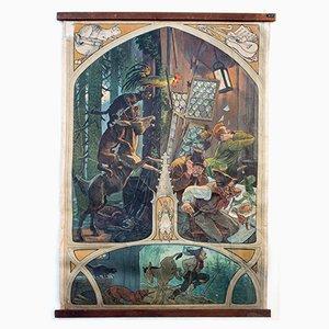 Fairy Tale Wall Chart of the Bremen City Musicians by Paul Hey for Fadrus Märchenbilder, 1949