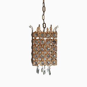 Lampada da soffitto antica veneziana in bronzo e cristallo